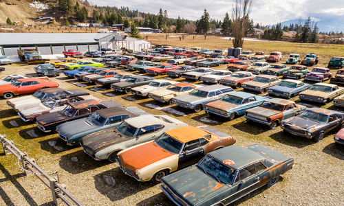Mike Hall of British Columbia is selling his property, alongside 340 vintage cars