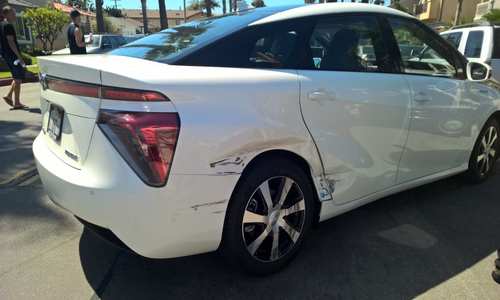 A freshly-collided-into Toyota Mirai, with no explosions to be seen.