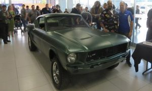 The lost Bullitt Mustang, at it's reveal in Mexicala