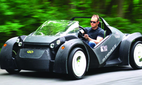 Local Motors' 3-D printed car, Strati. It is electric and composed of just 50 parts. The complete body was printed out as a single part.